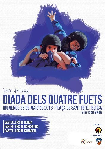 """This is a poster of the """"Diada dels Quatre Fuets"""" in Berga. Featuring Castellers de Berga, Castellers de Barcelona and Castellers de Sabadell"""